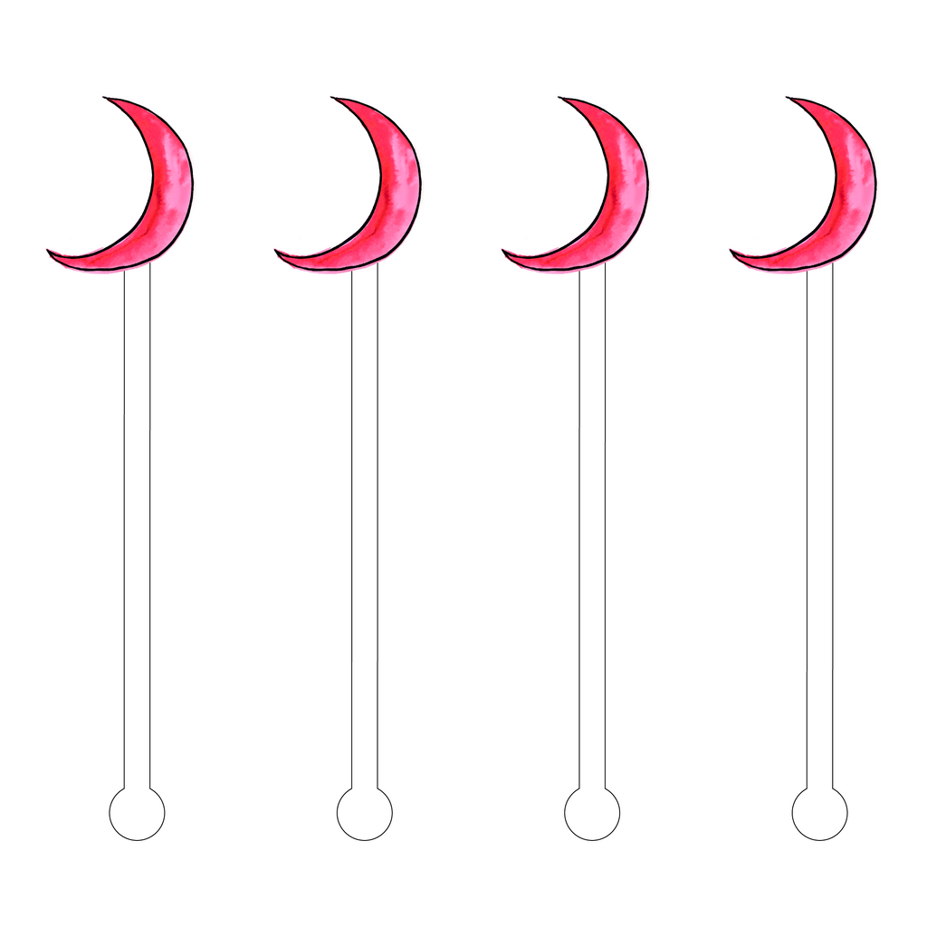 HOT PINK CRESCENT MOON ACRYLIC STIR STICKS