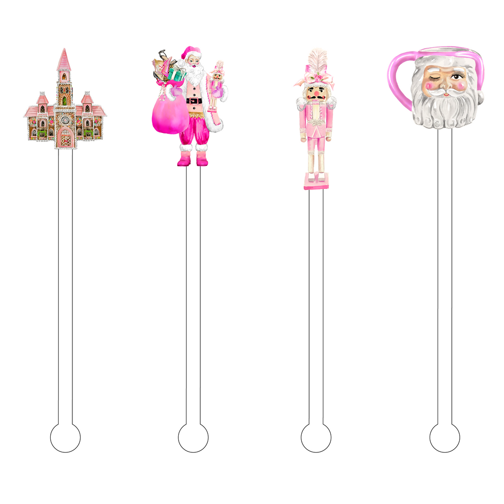 PRETTY IN PINK CHRISTMAS ACRYLIC STIR STICKS COMBO
