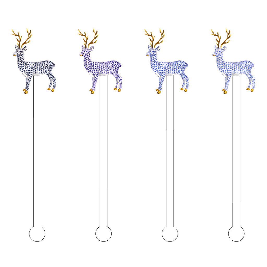 BLUE OMBRE HEREND REINDEER ACRYLIC STIR STICKS COMBO
