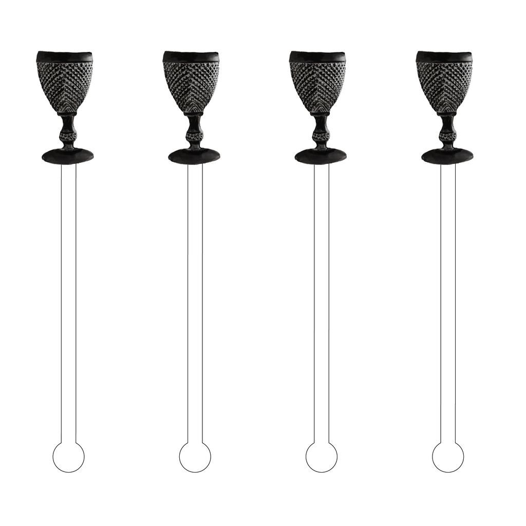 BLACK COBBLED GOBLET ACRYLIC STIR STICKS