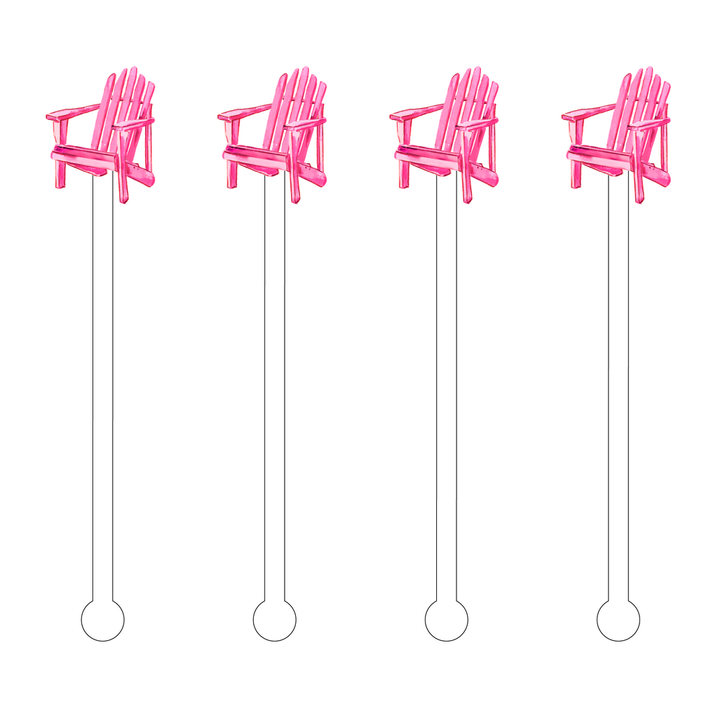 PINK ADIRONDACK CHAIR ACRYLIC STIR STICKS