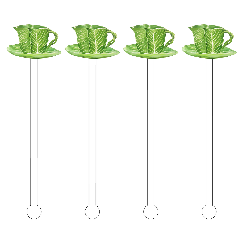 CABBAGE LEAF TEACUP ACRYLIC STIR STICKS