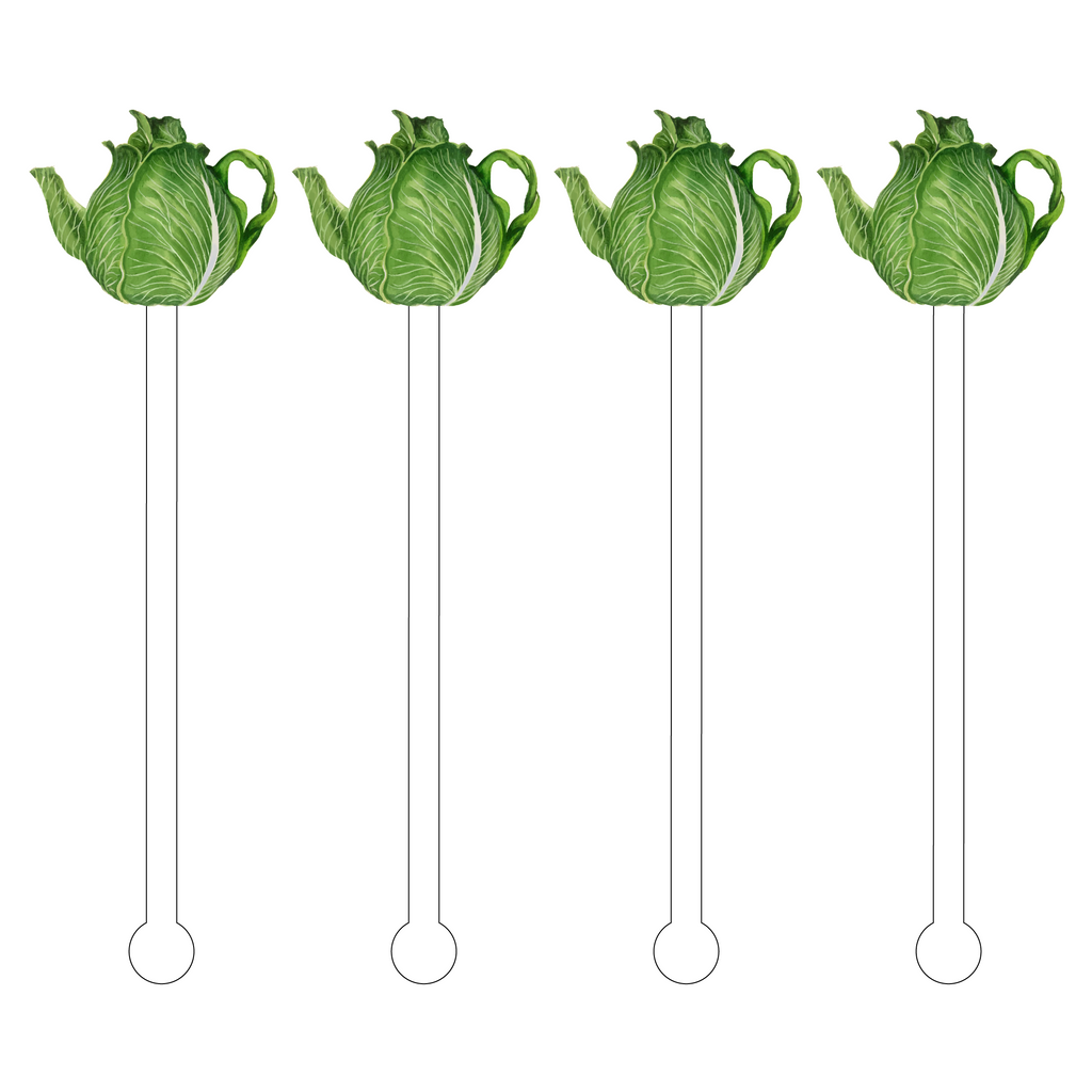 CABBAGE LEAF TEAPOT ACRYLIC STIR STICKS