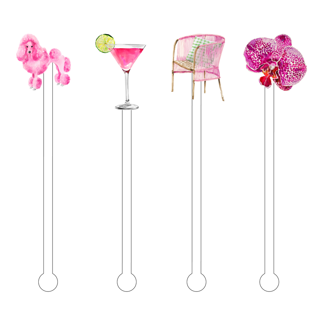 DINING IN PINK ACRYLIC STIR STICKS COMBO