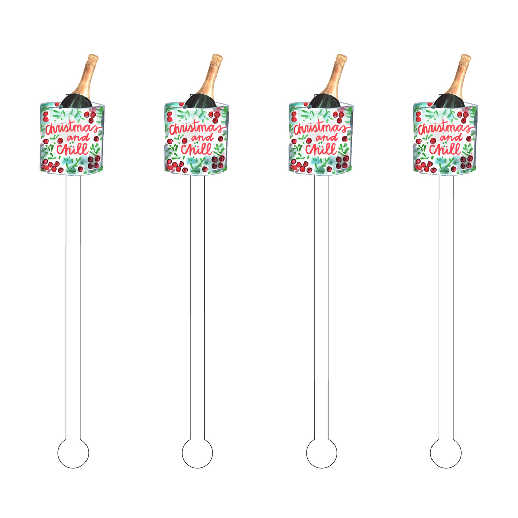 CHRISTMAS & CHILL ACRYLIC STIR STICKS