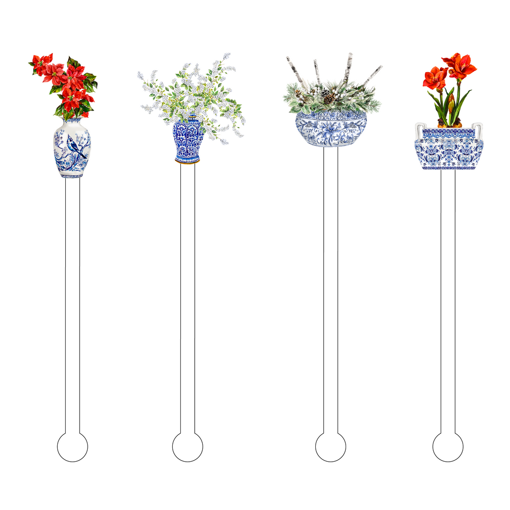BLUE & WHITE CHRISTMAS FLORALS ACRYLIC STIR STICKS COMBO