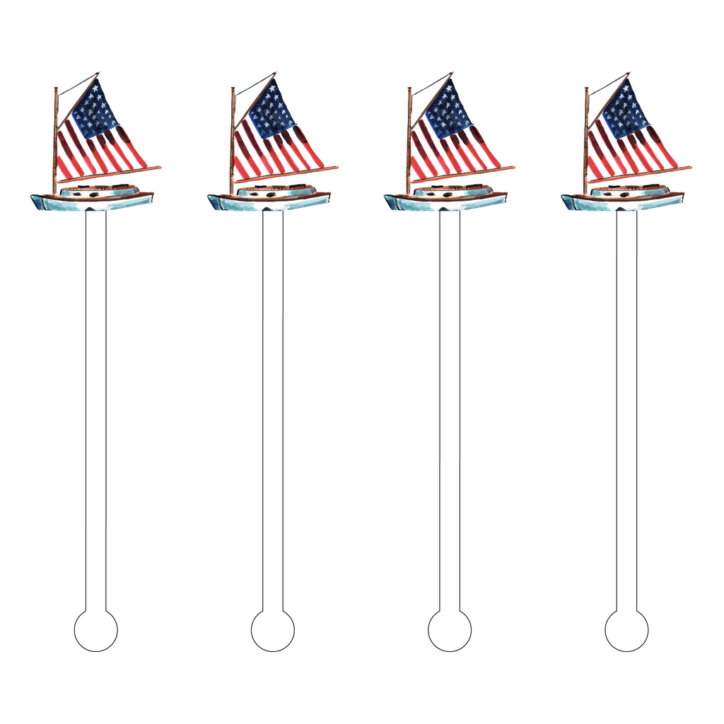 AMERICAN SAILBOAT ACRYLIC STIR STICKS