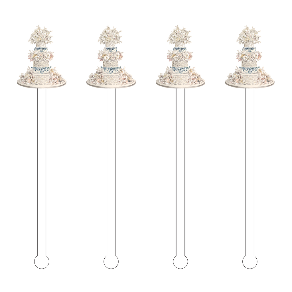 QUILTED WEDDING CAKE ACRYLIC STIR STICKS