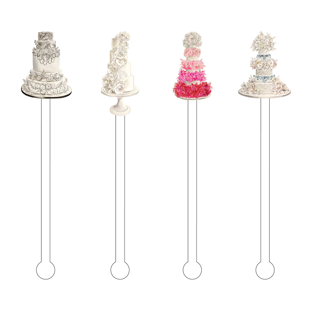 WEDDING CAKE ACRYLIC STIR STICKS COMBO