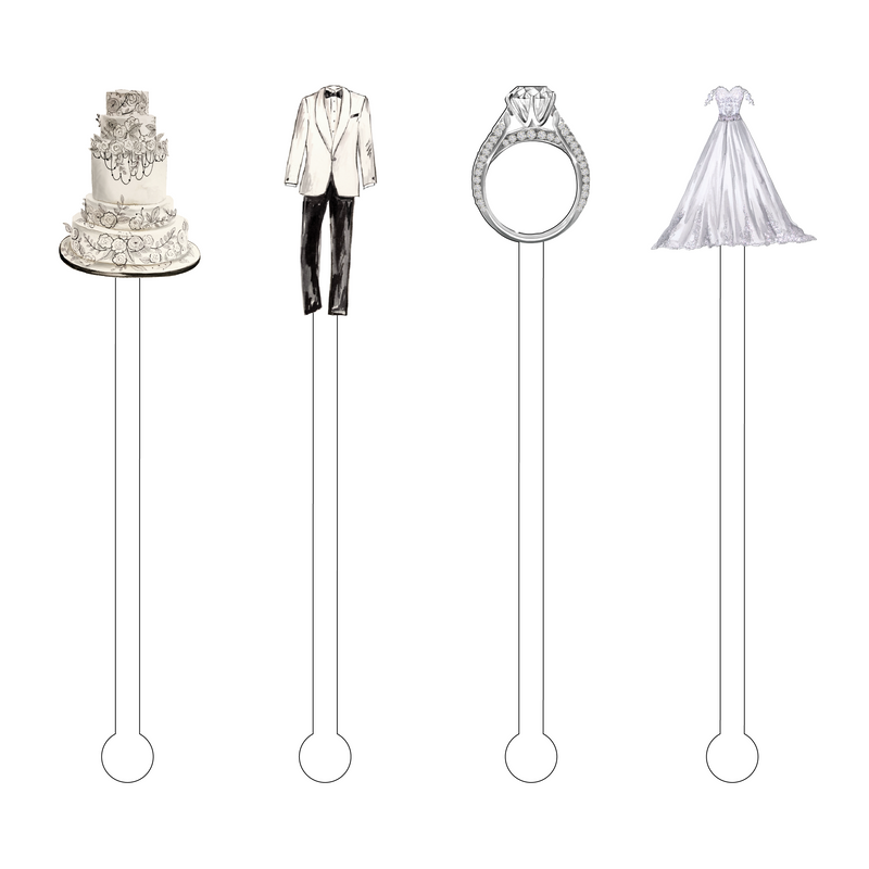 BLACK & WHITE WEDDING ACRYLIC STIR STICKS COMBO
