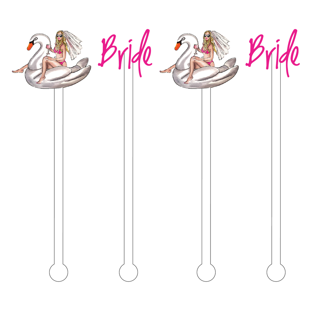 BRIDE TEXT & BACHELORETTE ON A SWAN FLOATY ACRYLIC STIR STICKS COMBO