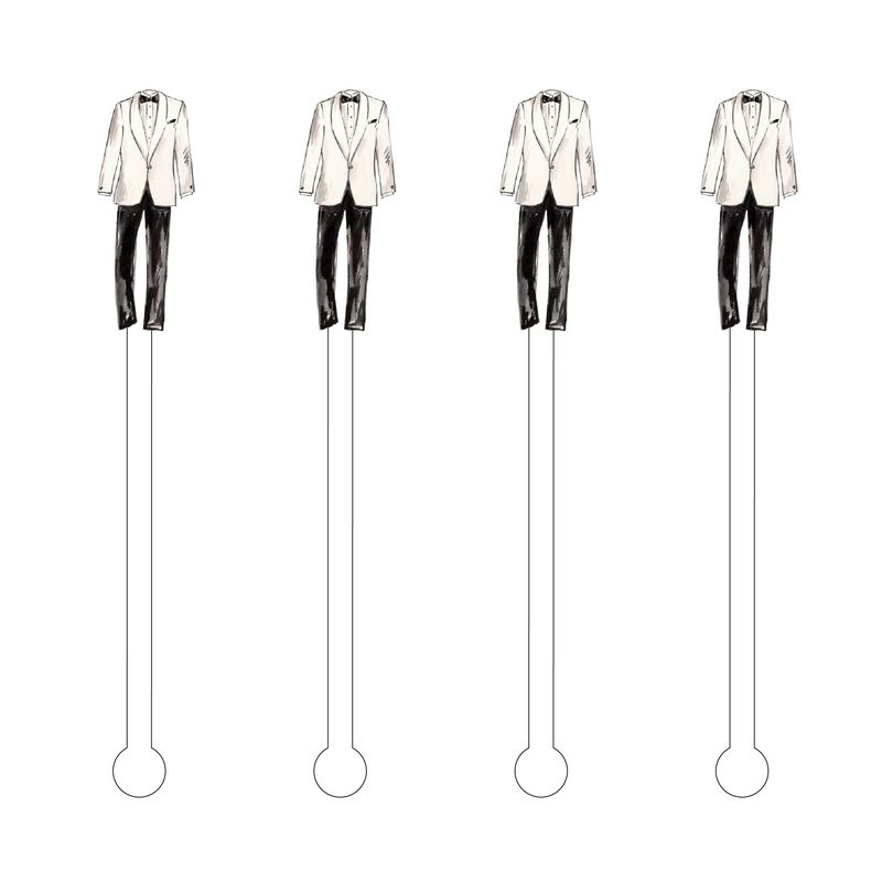 WHITE JACKET TUX ACRYLIC STIR STICKS