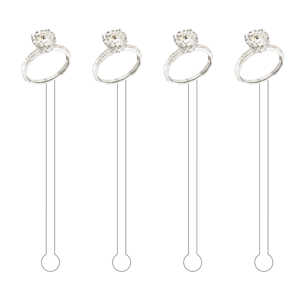 SOLITAIRE RING ACRYLIC STIR STICKS