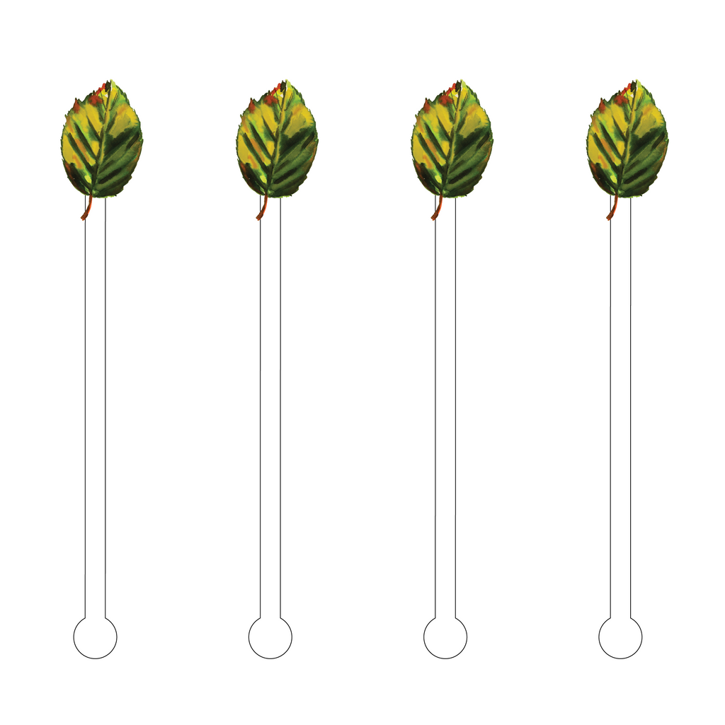 GREEN FALL LEAF ACRYLIC STIR STICKS