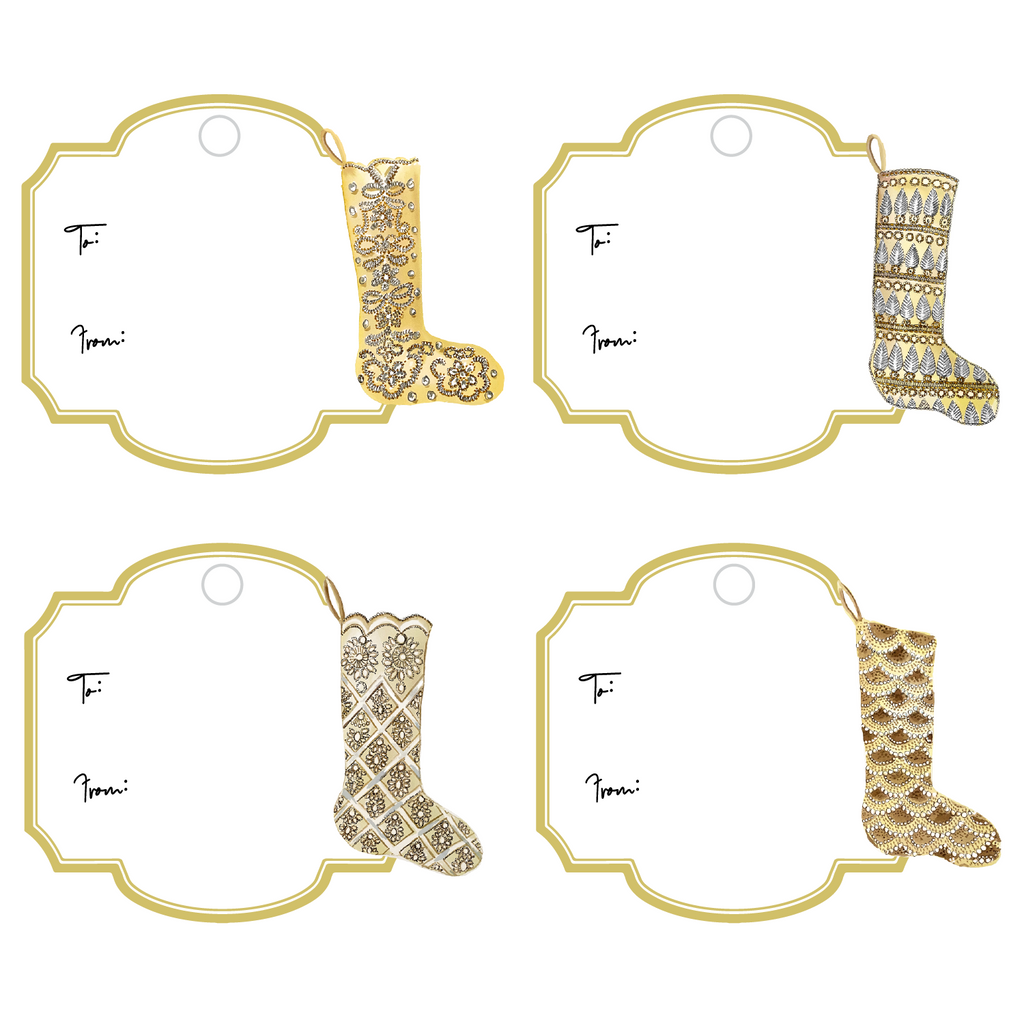 GOLD GLAM XMAS STOCKINGS WRITABLE ACRYLIC GIFT TAGS COMBO