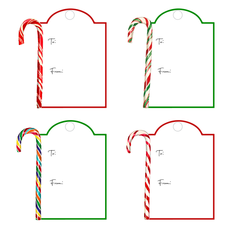 CANDY CANES WRITABLE ACRYLIC GIFT TAGS COMBO