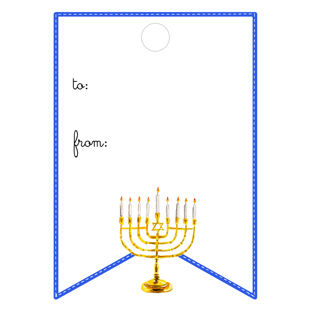 MENORAH WRITABLE ACRYLIC GIFT TAG