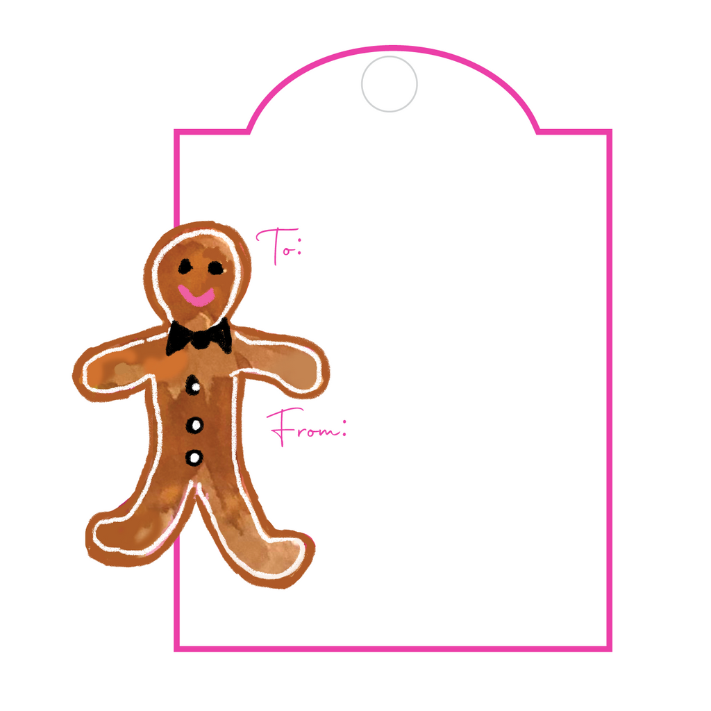 GINGERBREAD BOY WRITABLE ACRYLIC GIFT TAG