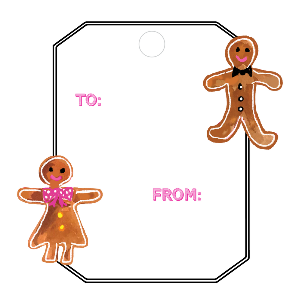 GINGERBREAD BOY & GIRL WRITABLE ACRYLIC GIFT TAG
