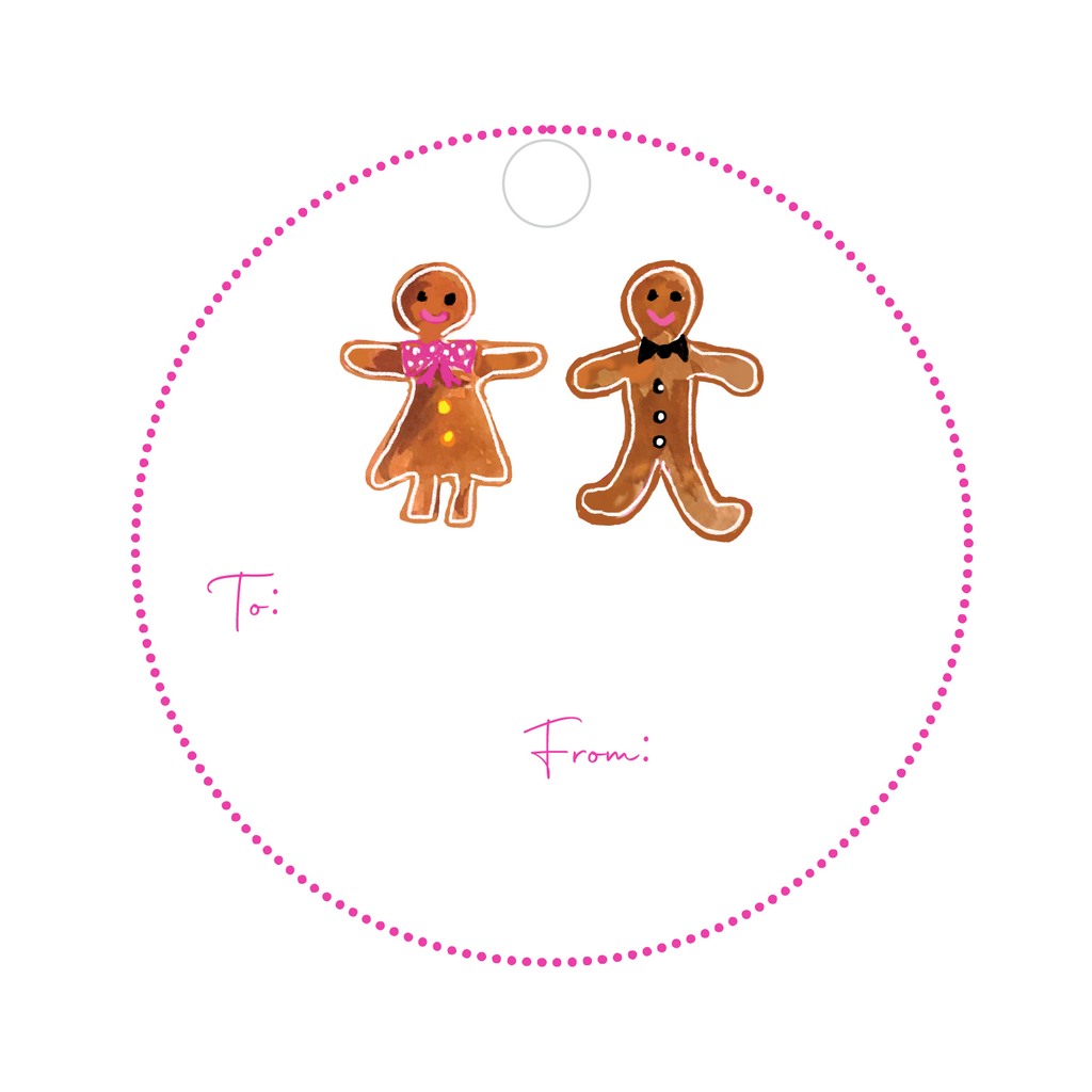 GINGERBREAD BOY & GIRL ROUND WRITABLE ACRYLIC GIFT TAG