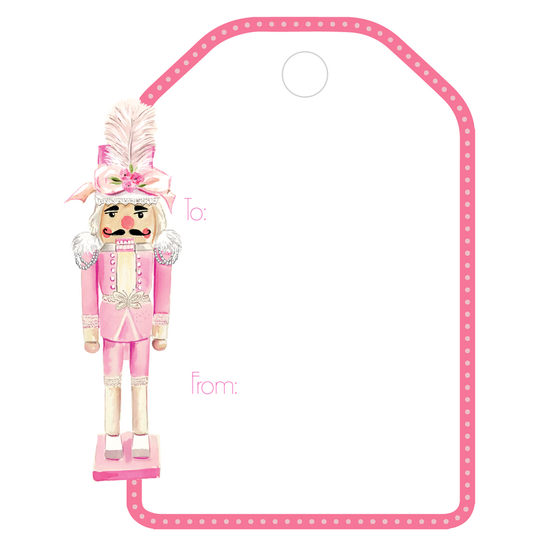 PINK COUTURE NUTCRACKER NO. 1 WRITABLE ACRYLIC GIFT TAG