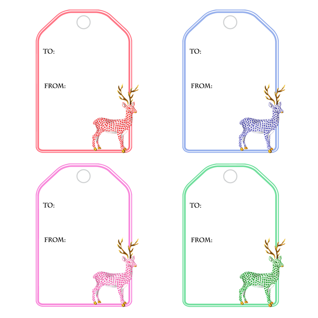 HEREND REINDEER WRITABLE ACRYLIC GIFT TAGS COMBO