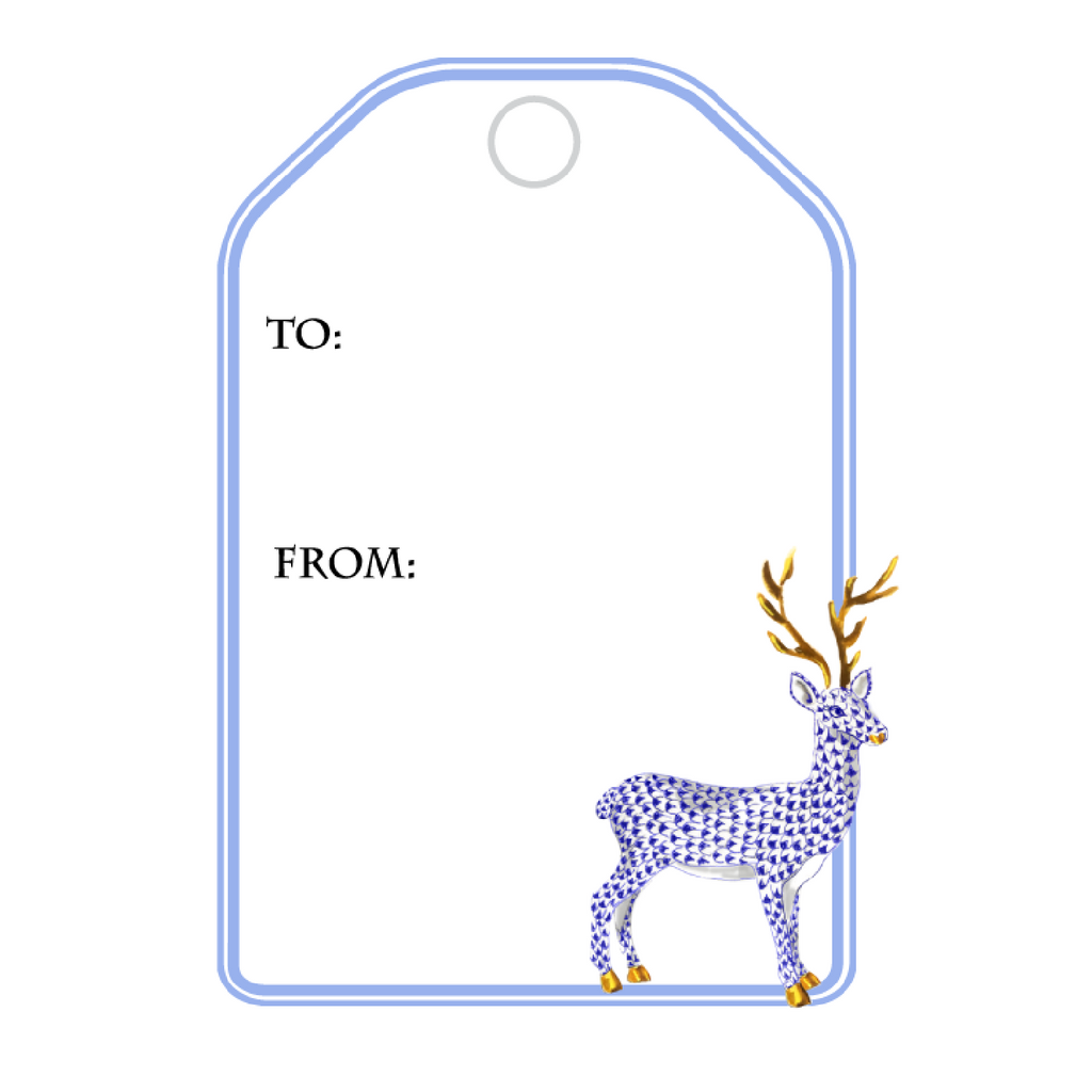 BLUE HEREND REINDEER WRITABLE ACRYLIC GIFT TAG
