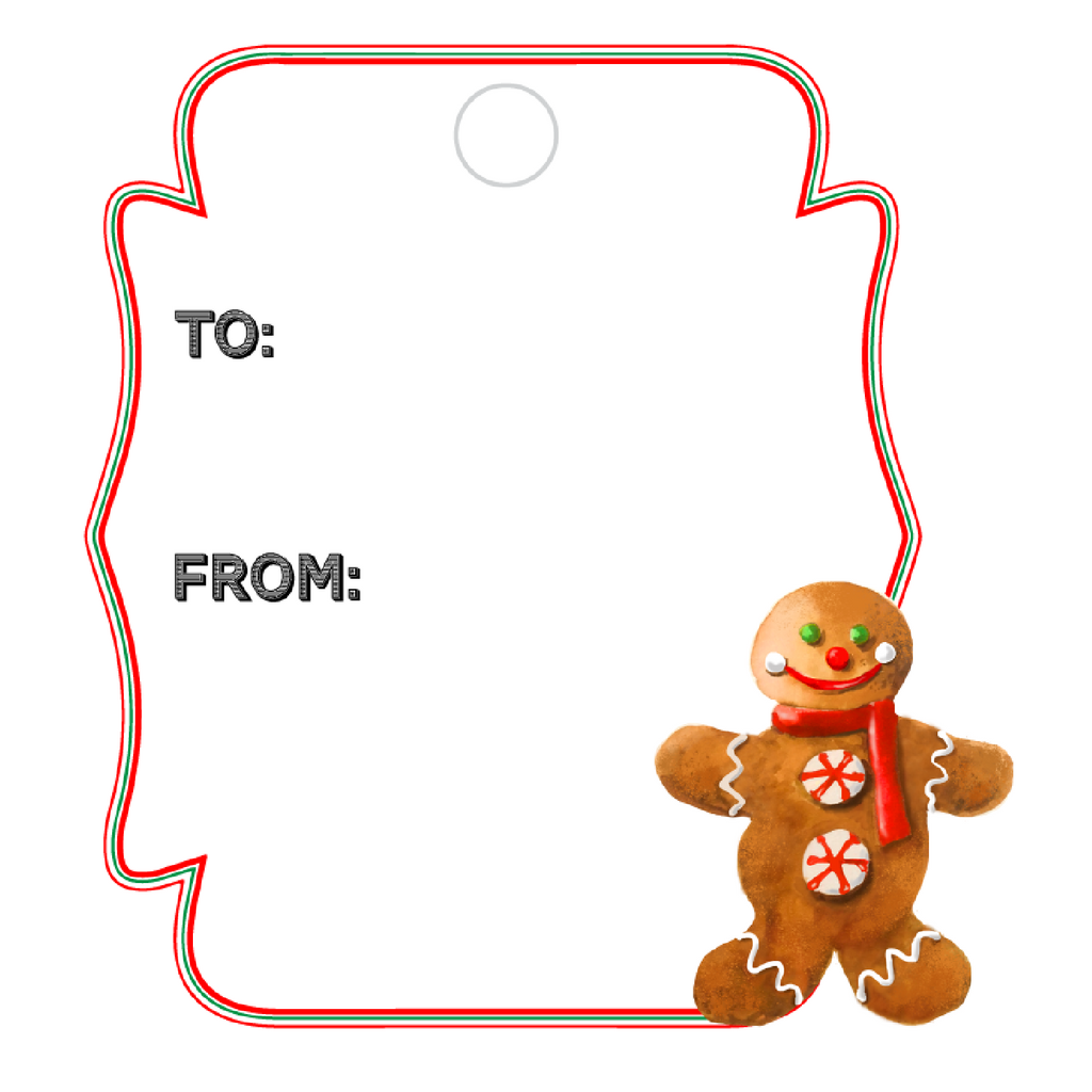 GINGERBREAD MAN WRITABLE ACRYLIC GIFT TAG