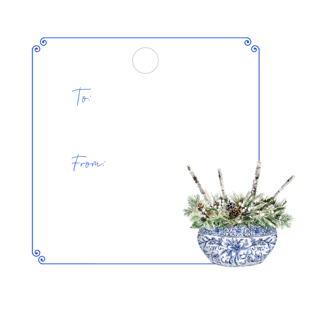 CHRISTMAS PINE & BIRCH WRITABLE ACRYLIC GIFT TAG