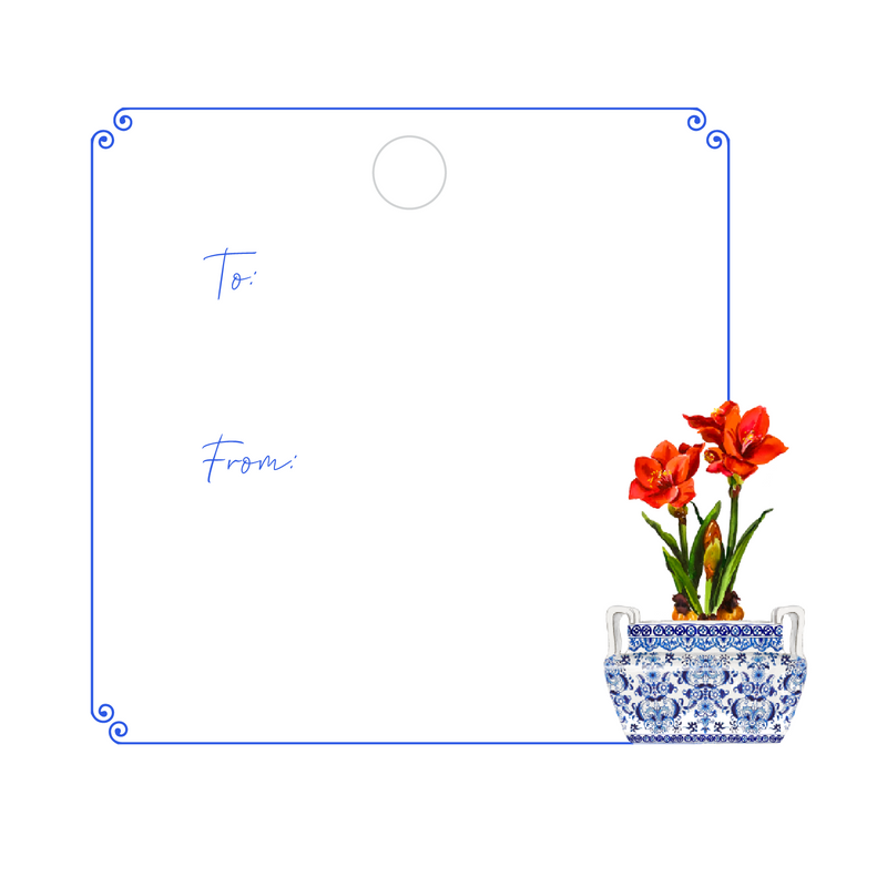 CHRISTMAS AMARYLLIS WRITABLE ACRYLIC GIFT TAG