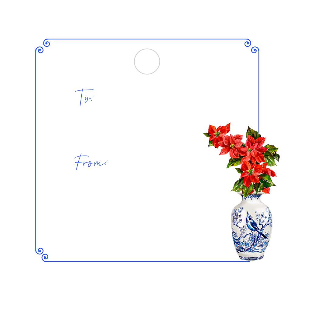 CHRISTMAS POINSETTIAS WRITABLE ACRYLIC GIFT TAG
