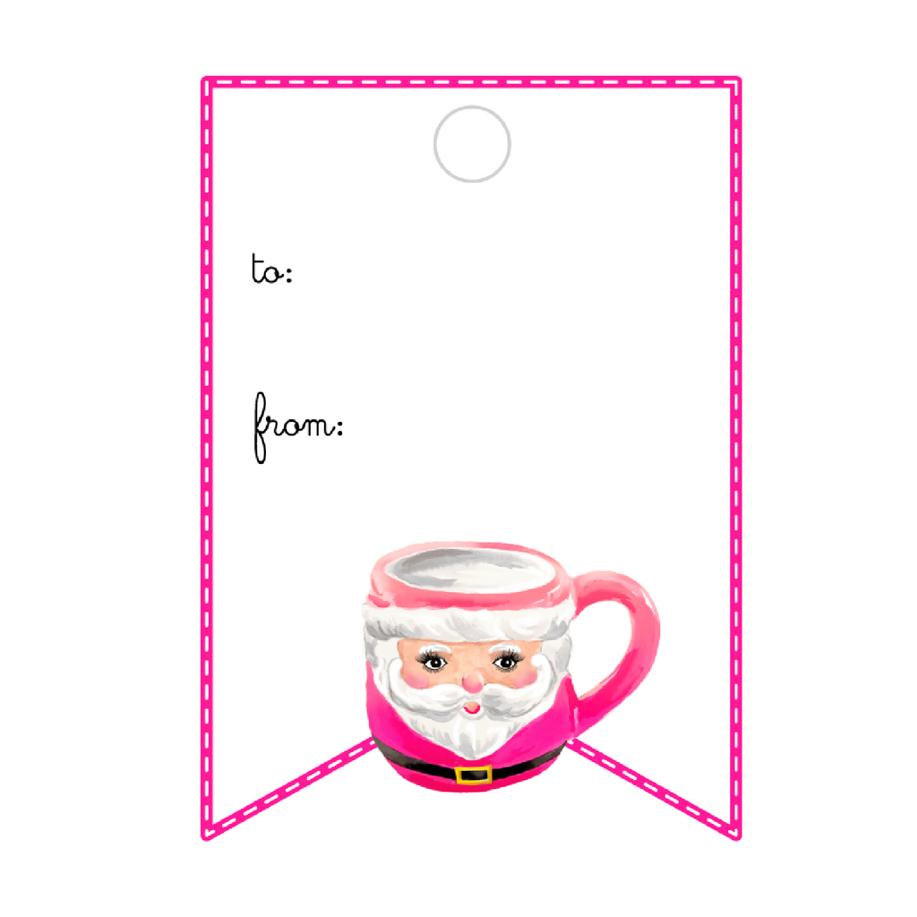 CUTE AS A BUTTON SANTA MUG PINK WRITABLE ACRYLIC GIFT TAG