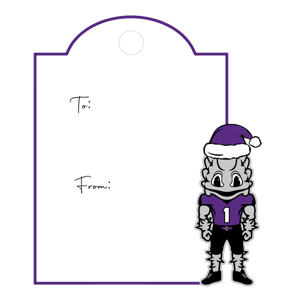 XMAS HORNED FROG MASCOT WRITABLE ACRYLIC GIFT TAG