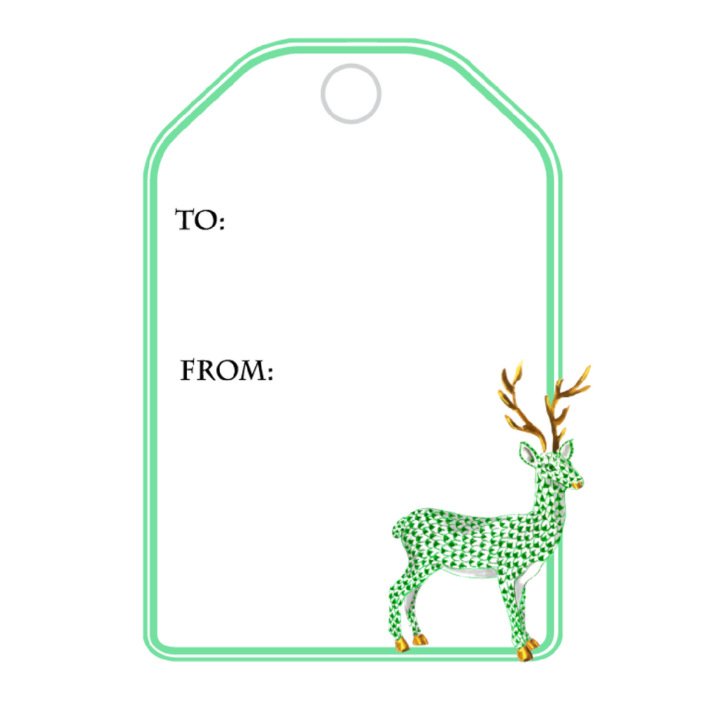 GREEN HEREND REINDEER WRITABLE ACRYLIC GIFT TAG
