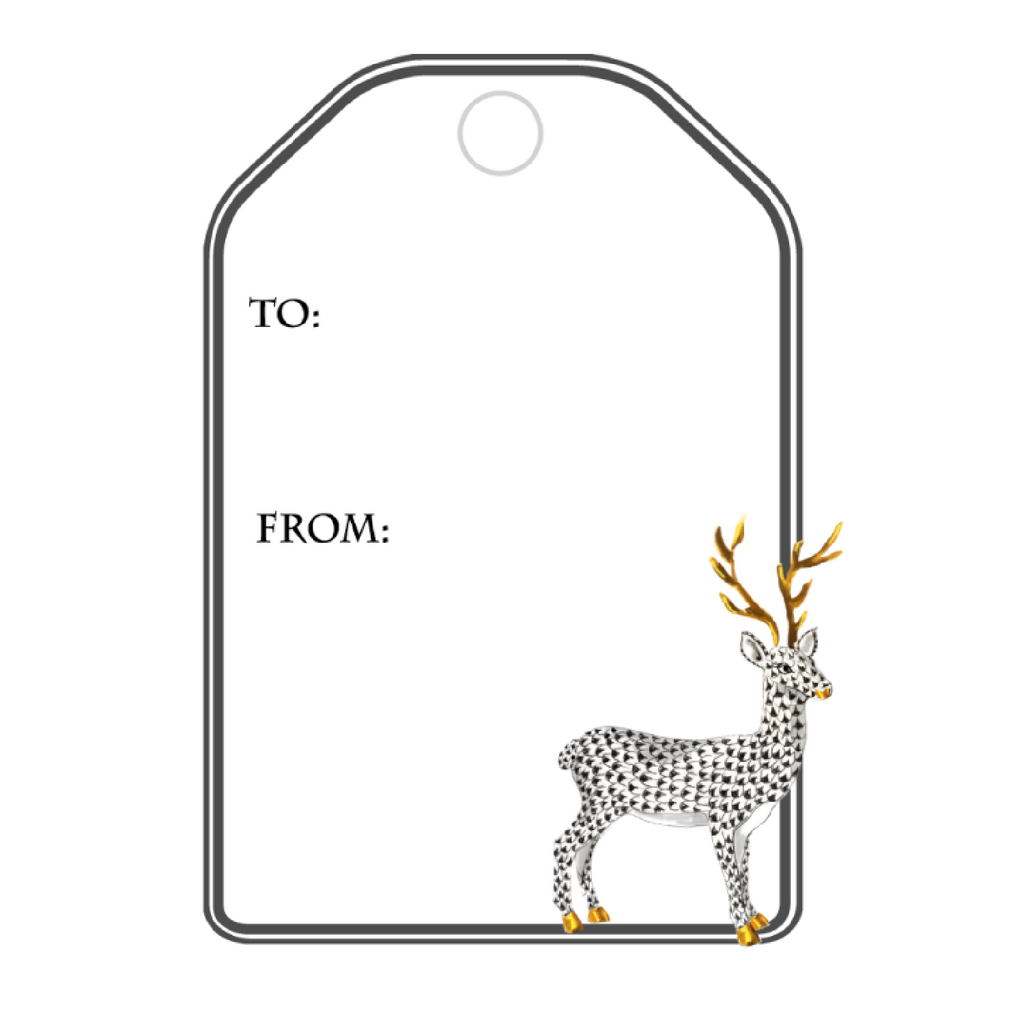 BLACK HEREND REINDEER WRITABLE ACRYLIC GIFT TAG
