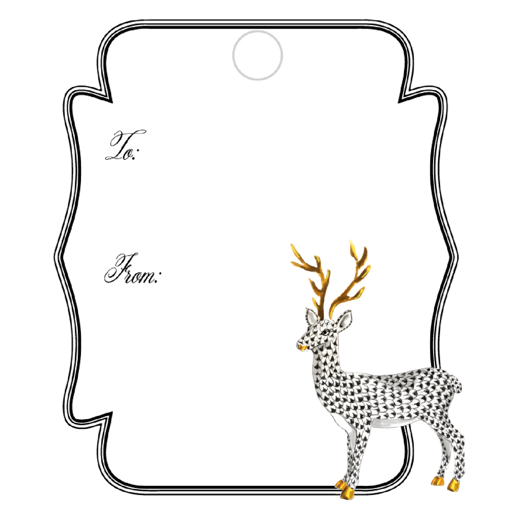 DECO BLACK HEREND REINDEER WRITABLE ACRYLIC GIFT TAG
