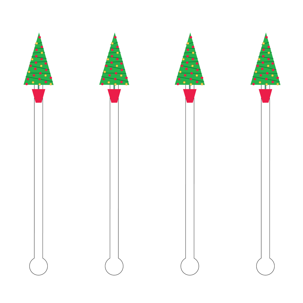 DECO XMAS LIGHTS HOLIDAY TREE ACRYLIC STIR STICKS