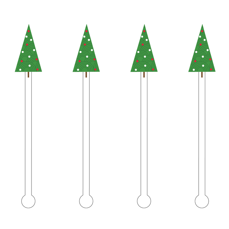 DECO DOT HOLIDAY TREE ACRYLIC STIR STICKS