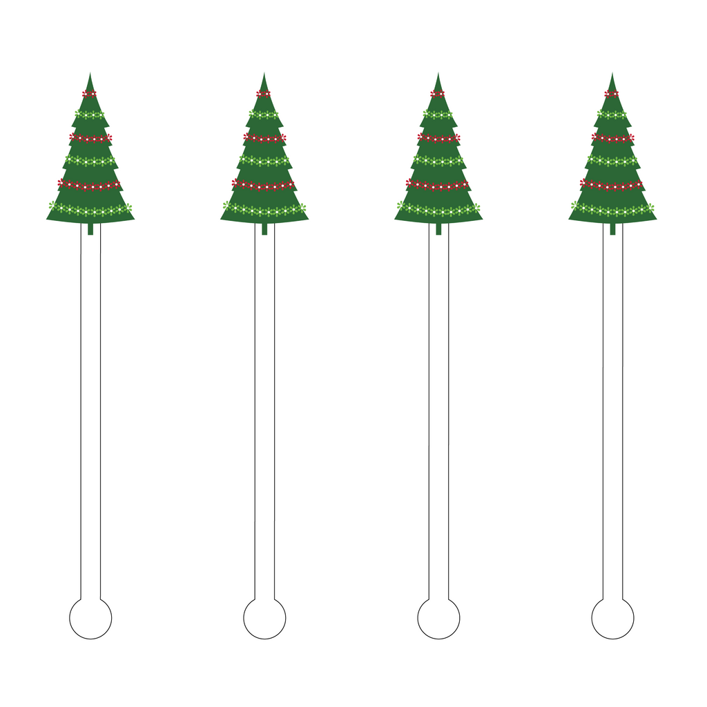 IT'S A VERY MERRY HOLIDAY TREE ACRYLIC STIR STICKS