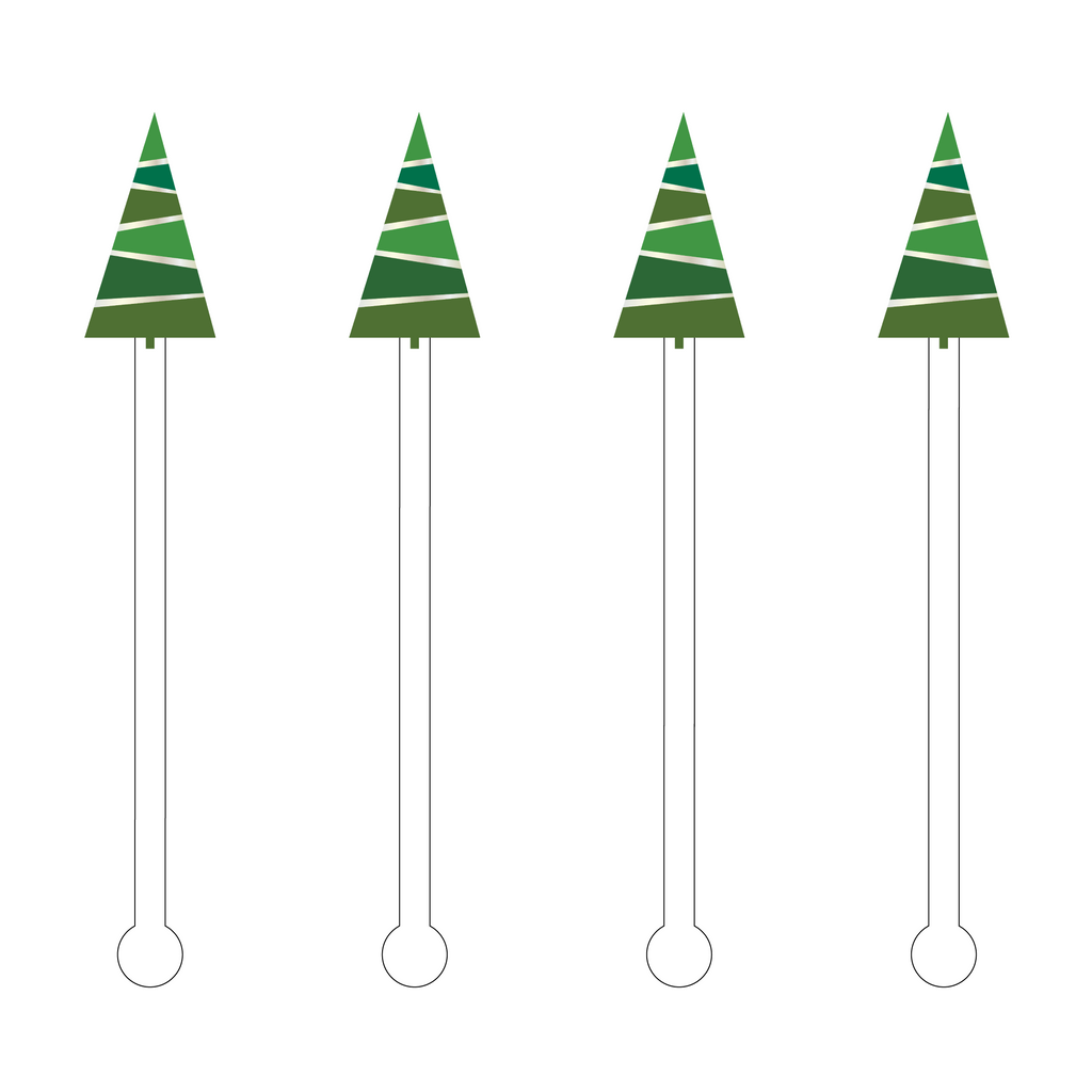 PRETTY IN GREEN HOLIDAY TREE ACRYLIC STIR STICKS
