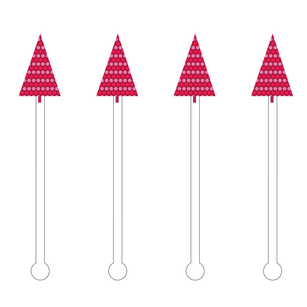 PINK POLKA DOT HOLIDAY TREE ACRYLIC STIR STICKS