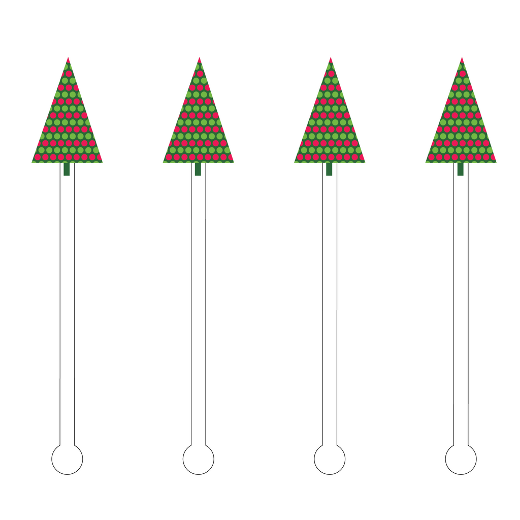MERRY CHRISTMAS HOLIDAY TREE ACRYLIC STIR STICKS