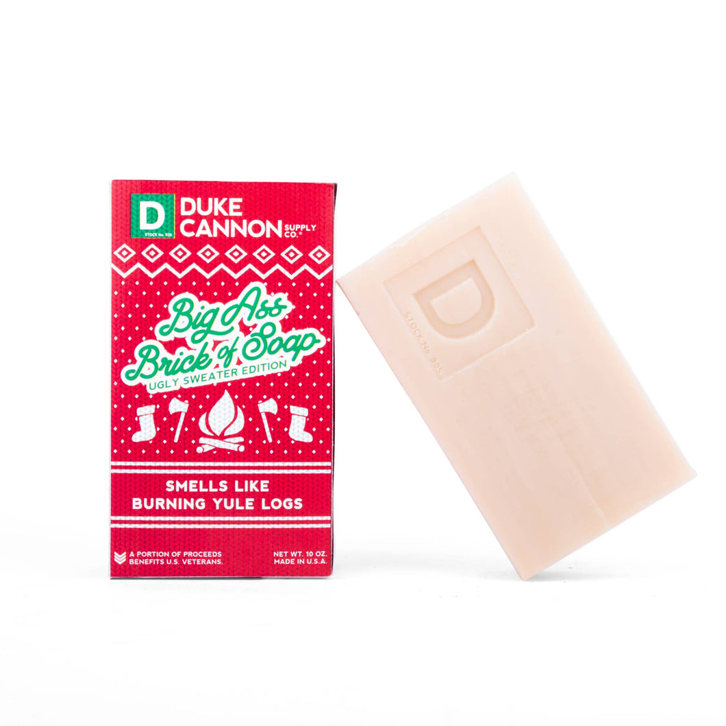 Big Ass Brick of Soap Ugly Sweater Edition -Burning Yule Log