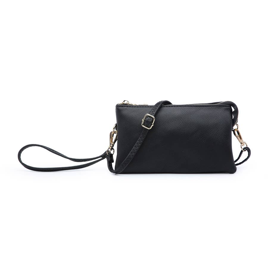 Riley Black 3 Compartment Crossbody/Wristlet