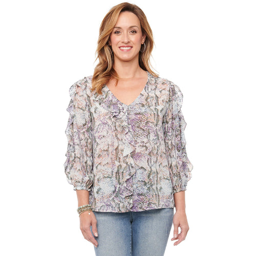 3/4 Sleeve Ruffle Front Snake Print Blouse