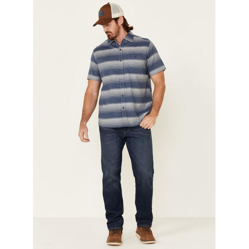 Chambray Horizontal Stripe Cotton Button Up
