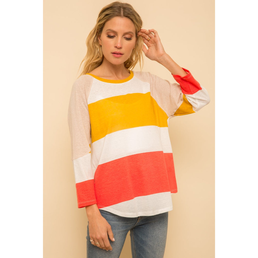 Color Block Raglan Top