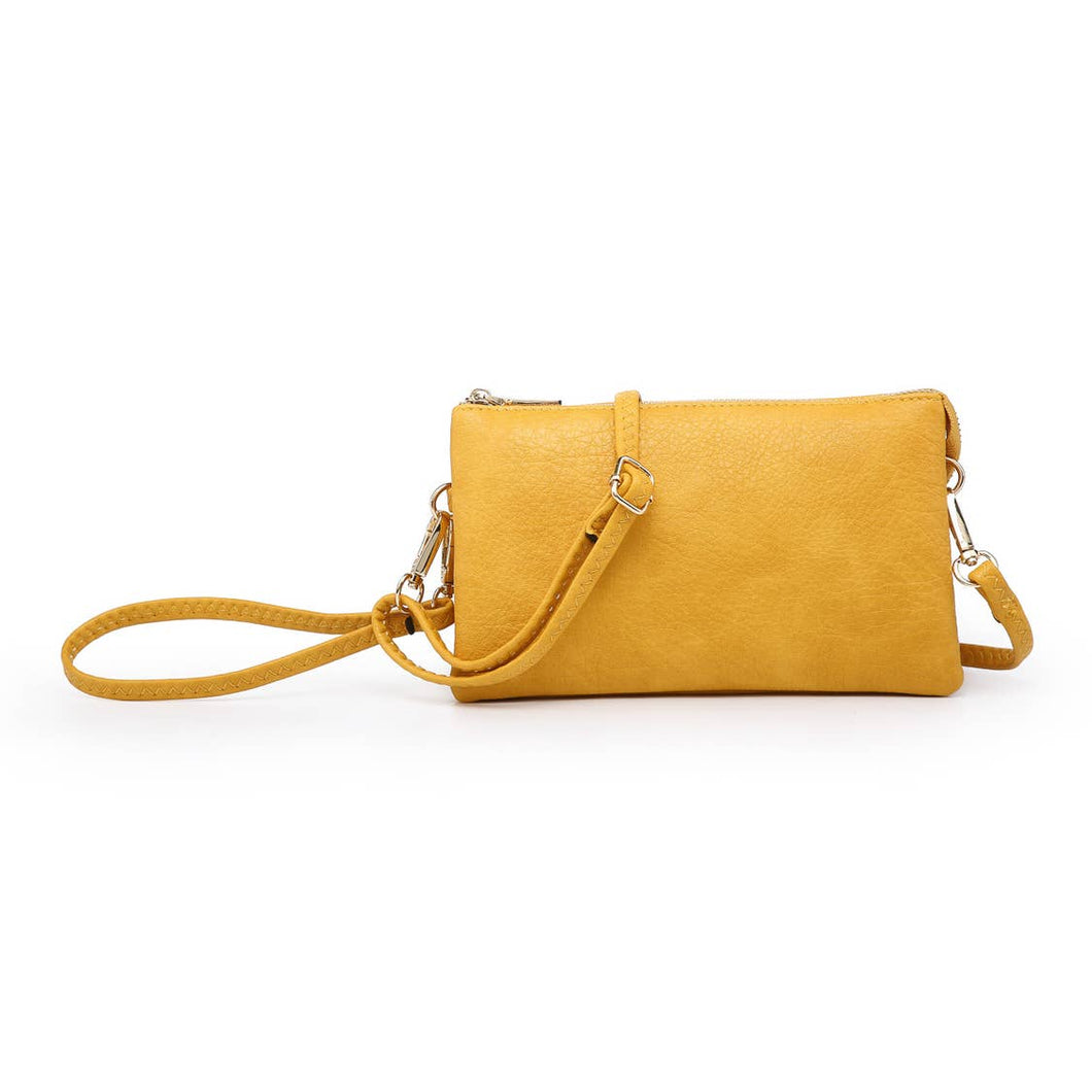 Riley Golden Yellow 3 Compartment Crossbody/Wristlet