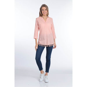 Tassled V Neck Top