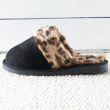Load image into Gallery viewer, Corky's Snooze Slipper - Black/Leopard